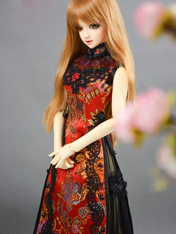 Custom-sized Clothes Girl Red&Black Long Dress for MDD/MSD/SD/DD/65CM Ball-jointed Doll