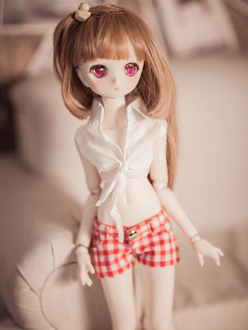 BJD Clothes Girl Short White Shirt+Gird Pants for SD/MSD Ball-jointed Doll
