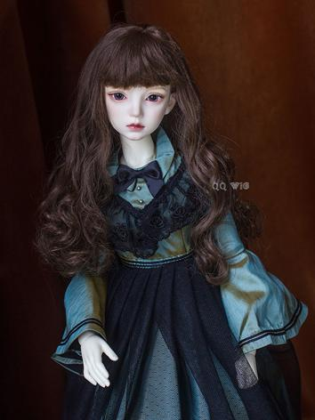 BJD Wig Dark Brown Long Cur...