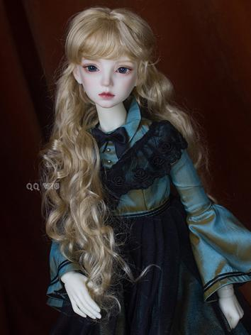 BJD Wig Light Gold Long Curly Hair Wig for SD/MSD/YSD Size Ball-jointed Doll