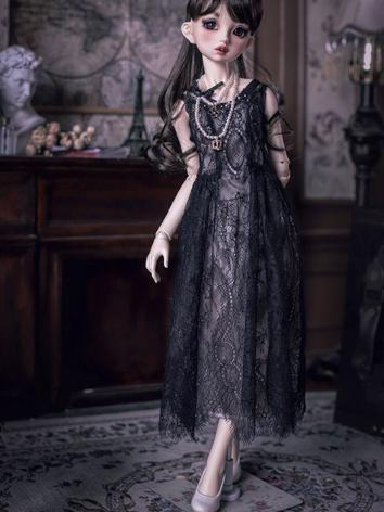 1/3 1/4 Clothes BJD Girl Retro Black Lace Dress Suit for SD/MSD/DSD Ball-jointed Doll