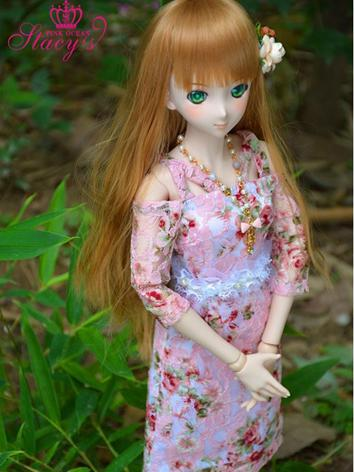 Custom-sized Clothes Girl Pink Printed Dress for MDD/MSD/SD/DD/65CM Ball-jointed Doll