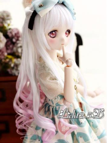 BJD Wig Girl White&Pink Long Curly Hair[NO.69] for SD/MSD/YSD Size Ball-jointed Doll