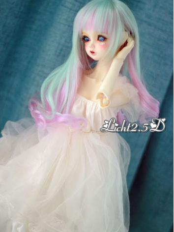 BJD Wig Girl Mint&Pink Long Curly Hair[07] for SD Size Ball-jointed Doll