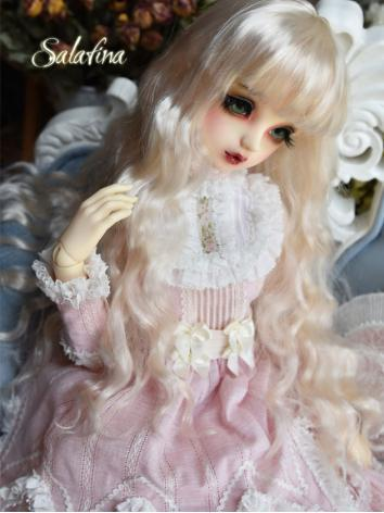 BJD Wig Girl White Gold Curly Hair for SD Size Ball-jointed Doll