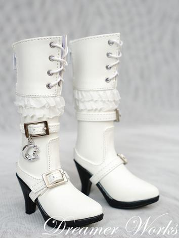 BJD 1/3 Shoes Female White HIgh Boots Shoes for SD Ball-jointed Doll