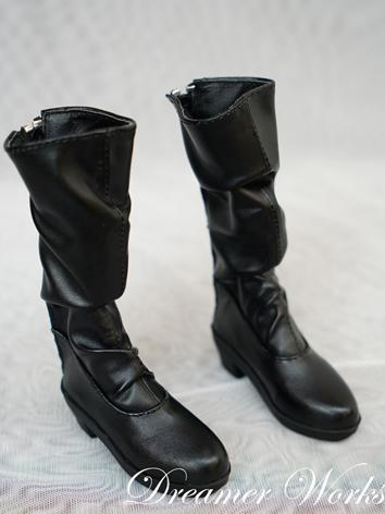 BJD 1/3 Shoes Female Black HIgh Boots Shoes for SD Ball-jointed Doll