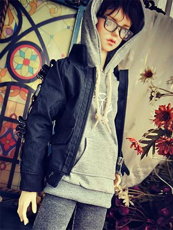 BJD Clothes Boy Black Jacke...
