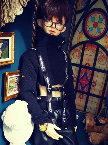 BJD Clothes Boy Black Top f...