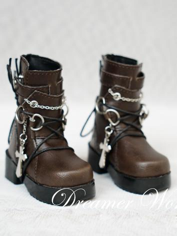 1/3 1/4 Shoes Boy Short Brown Boots Shoes for SD/MSD Ball-jointed Doll