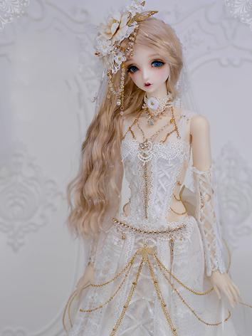 1/3 BJD Clothes Girl White Wedding Dress Suit for SD Ball-jointed Doll