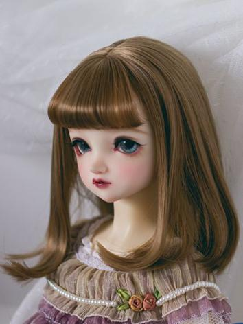 BJD Wig Girl Brown Shoulder Length Hair for SD/MSD/YOSD Size Ball-jointed Doll