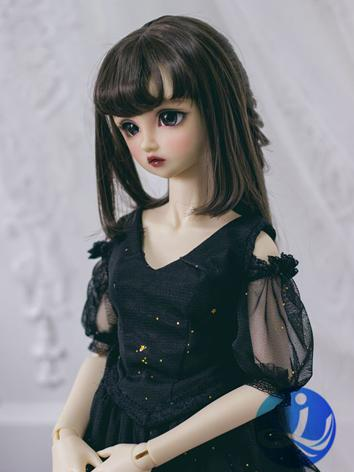BJD Wig Girl Dark Brown/Lig...