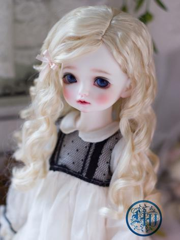 BJD Wig Girl Creamy Gold Curly Hair for SD/MSD/YOSD Size Ball-jointed Doll