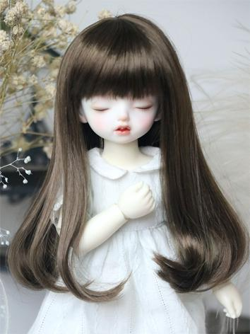 BJD Wig Girl Dark Brown/Orange Hair for YOSD Size Ball-jointed Doll