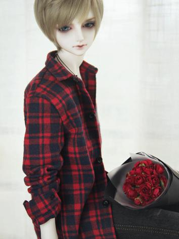 SD17 Boy Clothes Black/Red/Green Gird Shirt for SD17/70cm Ball-jointed Doll
