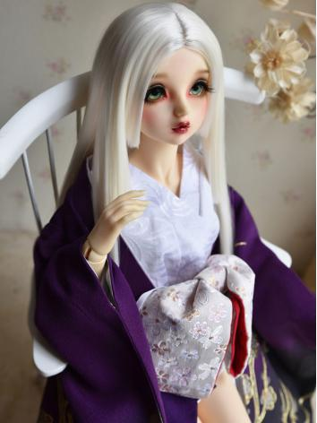 BJD Wig Girl White/Black Straight Hair for SD/MSD Size Ball-jointed Doll