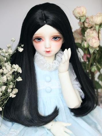 BJD Wig Girl Black Hair for...