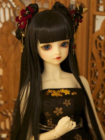 BJD Wig Girl Black Ancient ...