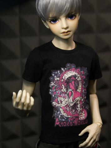 【Limited Item】BJD Clothes Boy White/Black T-shirt for SD13/SD17/70CM Ball-jointed Doll