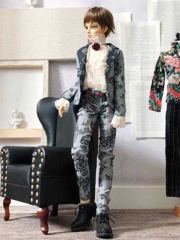 BJD Clothes Boy Gray Flower...