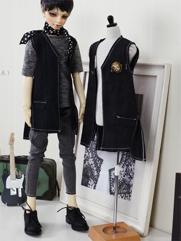 BJD Clothes Boy Black Punk ...