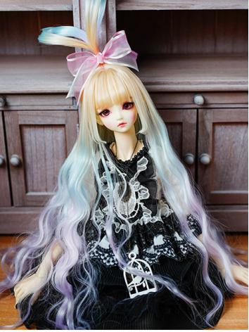 BJD Wig Girl Rainbow Color Long Curly Hair Wig for SD/MSD Size Ball-jointed Doll