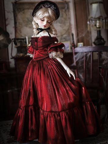 1/3 1/4 Clothes BJD Girl  Victoria Red Dress for SD/MSD Ball-jointed Doll