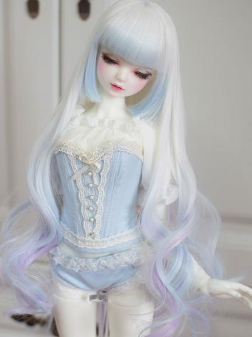 BJD Wig Girl White&Blue&Purple Curly Hair for SD/MSD Size Ball-jointed Doll
