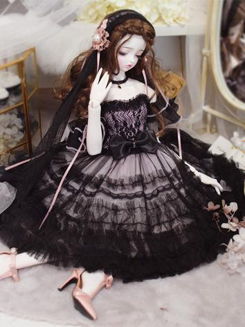 1/3 1/4 Clothes Girl BlackΠnk Dress for MSD/SD Ball-jointed Doll