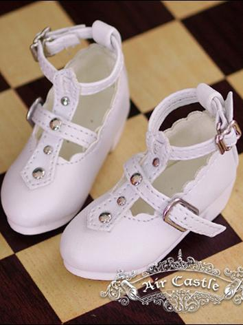 Bjd 1/4 Girl Shoes White/Bl...