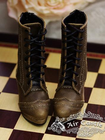 Bjd 1/4 Girl Shoes Black/Brown Retro Middle Boots for MSD Ball-jointed Doll