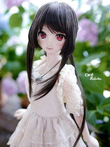 BJD Girl Wig Ash Black Hair for SD Size Ball-jointed Doll