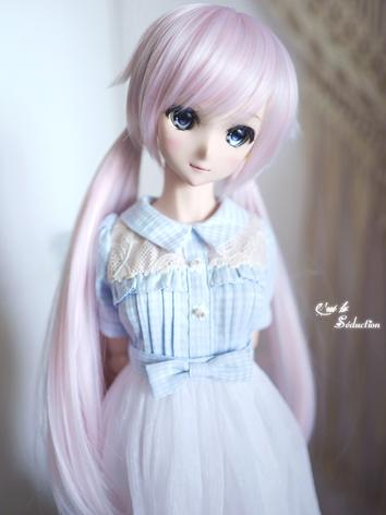BJD Girl Wig Light Pink/Light Blue Hair for SD Size Ball-jointed Doll