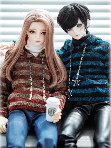 BJD Clothes Boy Stripe Hood...
