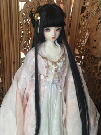 BJD Wig Girl Black Ancient Updo Hair for SD Size Ball-jointed Doll