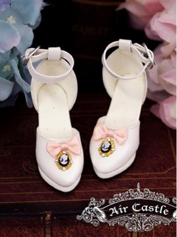 Bjd 1/3 Girl Shoes White/Wine/Black Retro Highheels for SD Ball-jointed Doll