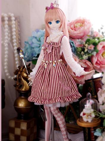 Limited BJD Clothes DD/SD10/SD13 size Girl Blue/Red Stripe Dress Ball-jointed Doll
