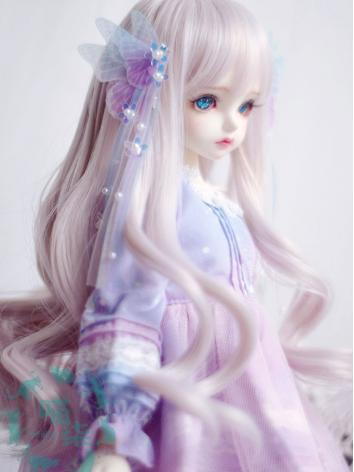 BJD Wig Girl Greyish Pink Hair for MSD Size Ball-jointed Doll