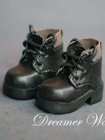 1/6 Shoes Black Ankle Boots...