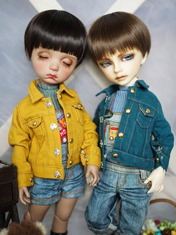 BJD Clothes Yellow/Blue Coa...
