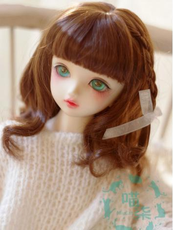 BJD Wig Girl Dark Brown/Gold Hair for SD/MSD/YSD Size Ball-jointed Doll