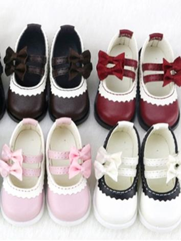 BJD Shoes Girl Black/White/Chocolate/Red/Pink/Blue Flat Shoes C19 for SD/MSD/DSD Size Ball-jointed Doll