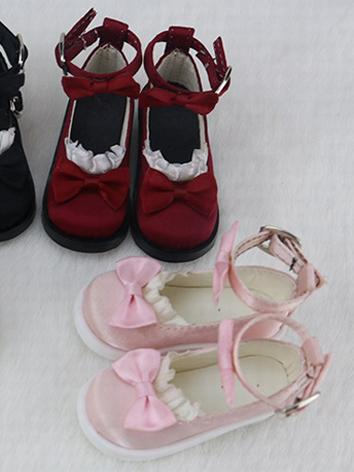 BJD Shoes Girl Black/Beige/Red/Pink Flat Shoes C24 for SD/MSD Size Ball-jointed Doll
