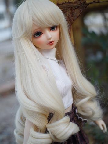 BJD Wig Girl White/Red/Gold/Gray/Orange Curly Hair for SD/MSD/YSD Size Ball-jointed Doll