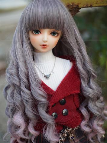 BJD Wig Girl Gray Curly Hai...