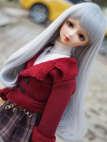 BJD Wig Girl Silver/Gray Ha...