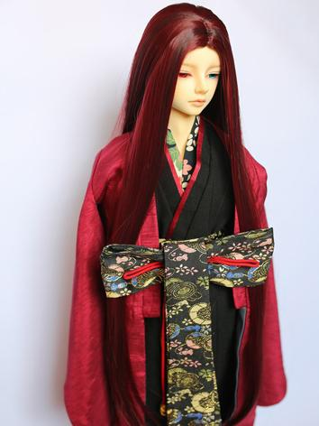 BJD Wig Boy Wine Long Hair ...