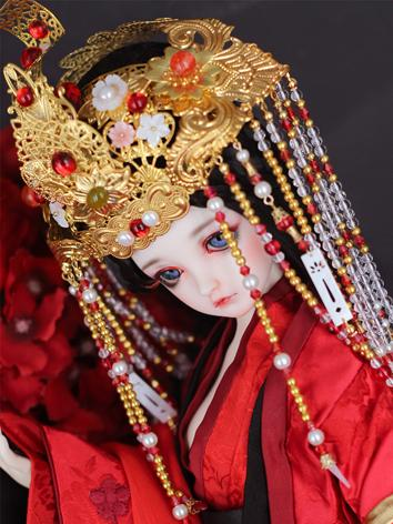 BJD Ancient Hairpiece Red Hair Accessaries Set for SD Ball-jointed doll