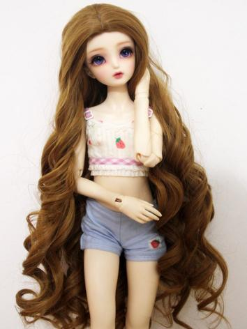 BJD Wig Girl Brown/Gold Lon...
